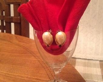 Faux Pearl and Enamel Clip Earrings