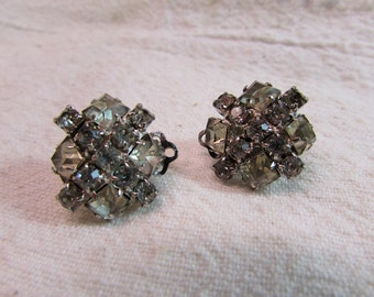 Rhinestone Clip On Square Earrings