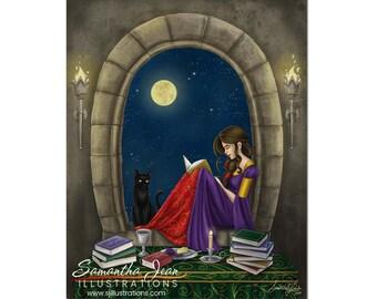Fantasy Art, Wall Art, Art Prints, Pagan Art, 8x10, Digital Print, Black Cat and Reading, Full Moon, Gothic Art, Art Prints, Pagan Art