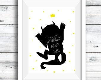 Wild Things Rumpage print, nursery print, kids room, gift for boys, gift for girls, monster print, wild things, let the rumpage start