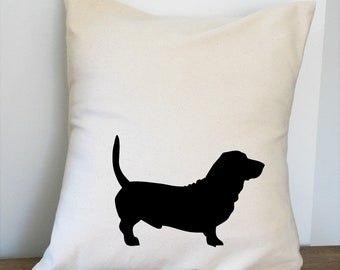 Basset Hound Pillow Cover Natural Color Canvas with Black Dog Shape 18x18 Inch Cover Made to Order