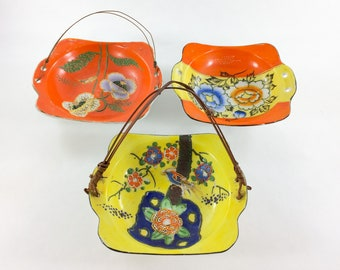 Japan Porcelain Hand Painted Trays Lot of 3