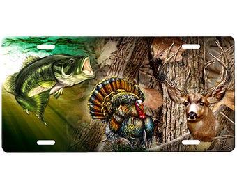 Hunting Deer Hunters Gone Hunting License Plate Wood Fence