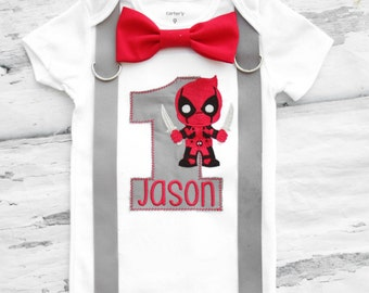 Baby Boy First Birthday Deadpool themed first birthday bow tie suspender set Boy one year cake smash Deadpool themed first Dead Pool
