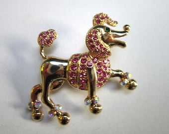 Prancing Pink Poodle brooch pin with rhinestones - estate jewelry