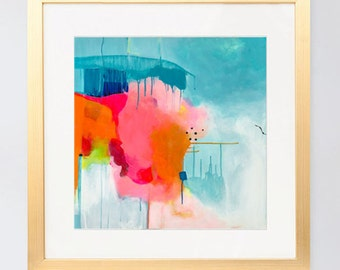 Abstract acrylic painting, modern wall art, colorful wall art, 1 of 2 contemporary art prints, square art fine art prints by Paula Prass