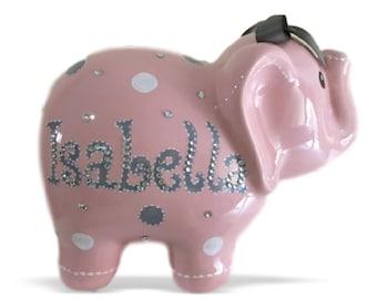 Personalized Large Elephant Piggy Bank Pink White & Gray Polka Dots - Newborns, Birthday Girls, Flower Girl, Baby Shower Gift Centerpieces