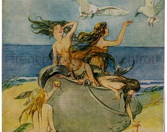 antique victorian illustration mermaids playing with seagulls DIGITAL DOWNLOAD