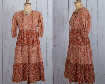 Vintage 1970s boho dress | 70s rust color midi