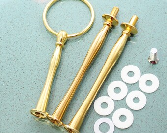 Cake stand handle / hardware Gold ROUND 3 tier  flower shape for DIY cake plate / stand dessert serving tray