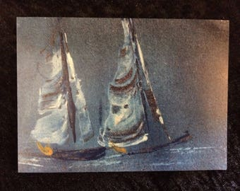 Cards - Norfolk Punts on a Blustery Day - pack of 4.