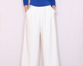White pants with pockets High waist Wide leg pants Women trousers Formal pants