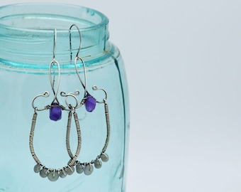 Blackened Sterling Silver, Wire Wrapped, Amethyst, Handmade, Boho-Style, Chandelier Earrings