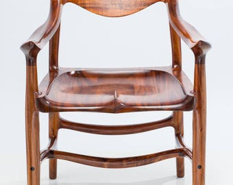 Armchair, Sculpted from Instrument Grade Hawaiian Acacia Koa Wood