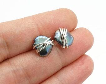 Silver Keshi pearl stud earrings, Sterling silver keshi pearl earrings, Silver pearl studs