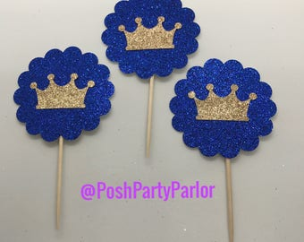 Crown Cupcake Toppers - One Dozen