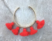 FIESTA Red Tassel Bangle, Gold Bangle Bracelet, Red Bracelet, Gift for Her, Red Tassels,Stocking Stuffer, Birthday Gift, Modern Bangle
