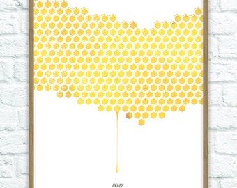 Honeycomb Art Print A4 (210mm x 297mm)
