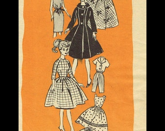 "BARBIE Vintage 11 1/2"" Fashion Doll Dress Frock Fabric Sewing Pattern MAIL ORDER # 9475 Betty Tina Bild Lilli Peggy Ann Tammy Uneeda Popi"