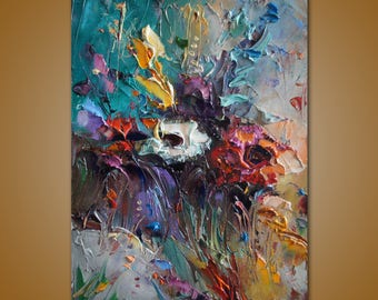 Palette Knife Flowers Painting, Oil Painting, Abstract Floral Art, Impasto Art, kitchen Wall Decor, Original Artwork, Abstract Canvas Art