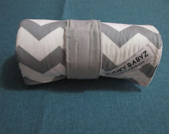 Handmade baby changing mat 100% cotton-Grey chevron.