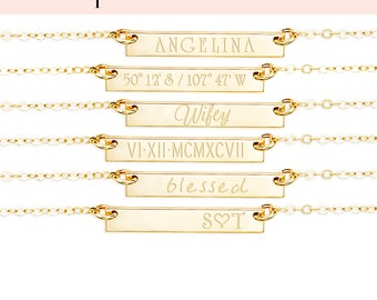 Custom Name Necklace, Skinny Bar Necklace, Dainty Name Necklace, Engraved Names, Name Necklace, Gold Fill, Rose Gold Fill, Silver, H425/435