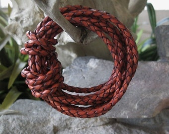Terracotta Leather Lace Braided Bolo Cord 3MM Red Brown Rustic 1 Yard
