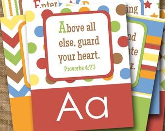ABC Scriptures for Kids   Children's Alphabet   Playroom Alphabet   ABC: God's Way for Me   Christian, Bible Alphabet   DIY Printable ABCs