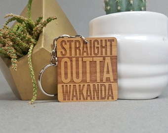 Marvel Black Panther Key Chain - Straight Outta Wakanda - Wood Keychain - Laser Engraved