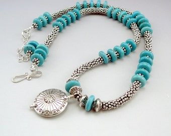 Turquoise Bead Necklace, Southwest Jewelry, Round Pendant Necklace, Western Jewelry, Adjustable Necklace, Southwest Necklace, One of a Kind