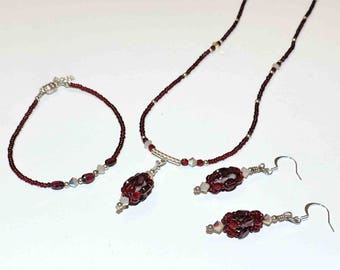 Garnet Red Necklace Bracelet and Earring Set With Crystals and Silver