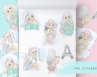 Travel girl stickers, journal stickers, cut files, planner stickers, png file, cartoon girl, fashion illustration, cute girl clipart