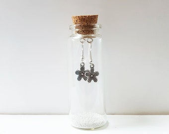 Little Flower Earrings In A Bottle - Flower Earrings - Flower Gift - Gift Ideas - Gift For Her - Drop Earrings- Vintage Earrings - Zamsoe