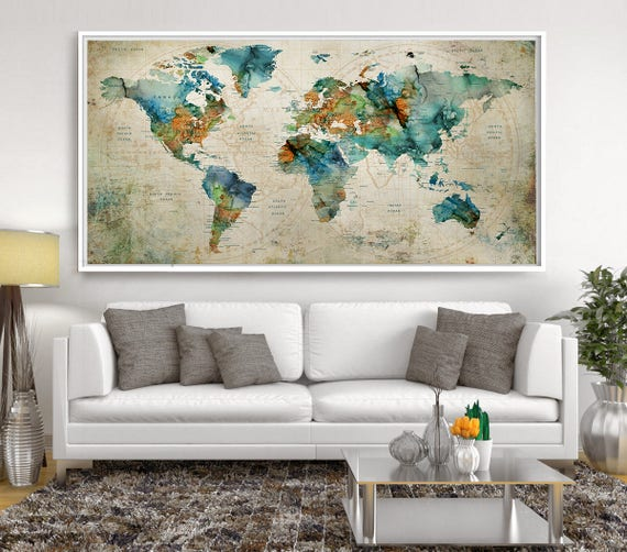 Abstract large wall art turquoise world map art prints home abstract large wall art turquoise world map art prints home decor world map poster extra large wall art push pin world map l121 sciox Images