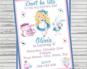 Alice In Wonderland Themed Party Custom DIGITAL Birthday Invitation.