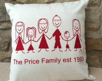 Character Family Cushion Pillow Made to Order Personalise for your family