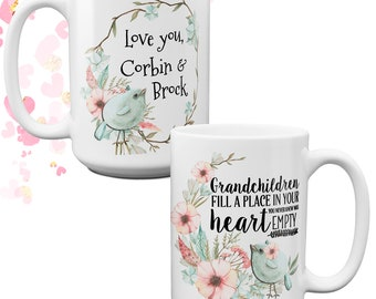 Personalized Grandchildren Coffee Mug | Grandma Grandpa Gift| Grandparent Reveal | Gift from Grandkids | Grandparent Gift | New Grandparents