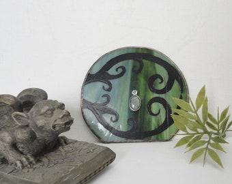Fairy Door, Garden Sculpture, Green Stained Glass, Hand Painted, Miniature, Faerie Portal, Fae Door, Garden Art, Home Decor, Terrarium