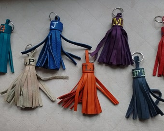 Monogrammed Leather Tassels - 3 letter monogrammed leather tassels - leather tassels - leather tassel keychains - colorful leather tassels