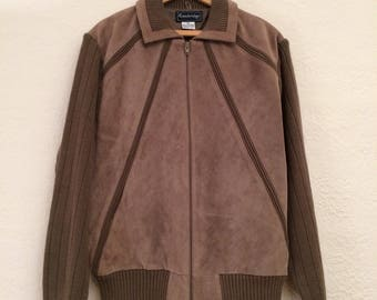 80's Vintage Brown Suede and Knit Coat, made in Korea