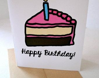 Carte d'anniversaire mignon - gâteau d'anniversaire