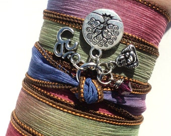 Bohemian, Silk Wrap, Bracelet, Buddh,a Tree of Life, Om, Yoga, Jewelry, Namaste, Earthy, Bohemian Earth Designs, Gift For Her, Item J92