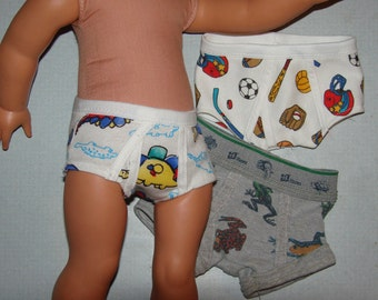 Set of Boys Briefs to fit 18 inch dolls like American Girl, Our Generation and similar soft-bodied dolls