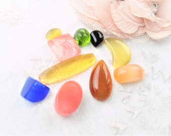 glass cabochon, cat's eye, glass faceted, mixed lot destash x 10