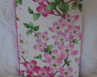 Quilted Art Journal, Blank Journal, Dogwood Flowers, Floral, refillable, Office Organizer, Pink, Green