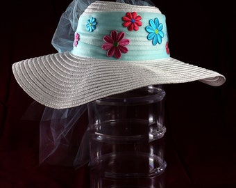 Hippie Hat- White floppy hat with light blue tulle and hand sewn flowers.