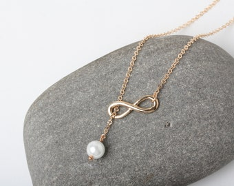 Rose Gold Infinity necklace, Rose Gold Eternity Necklace, Infinity Jewelry, Rose Gold Necklace, Bridesmaid Necklace, wedding favors
