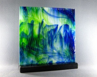 Art Glass Sculpture Abstract Dimensional Watercolor  Blues and Greens Blended Together Artist Signed