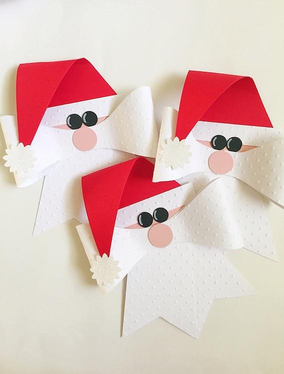 Christmas Santa Garland. Christmas Banner. Santa Bows. Christmas Mantle Decor. Christmas Gift Bow Set. Christmas Tree Garland. Mantel Decor.