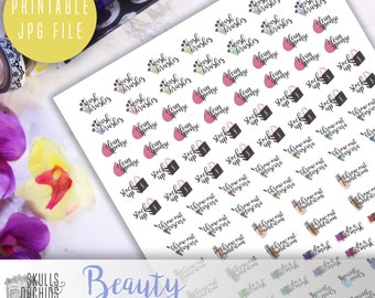 Functional Phrases for Beauty – PRINTABLE Planner Stickers for Erin Condren, Happy Planner, Personal-Sized Planners, etc